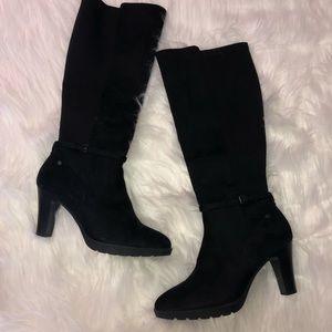 NWT DANA BUCHMAN FITTED CALF SUEDE BOOTS BLACK 8